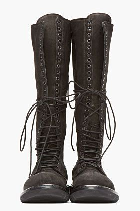 RICK OWENS Black Nubuck & Leather Knee High Lace-Up Combat Boots