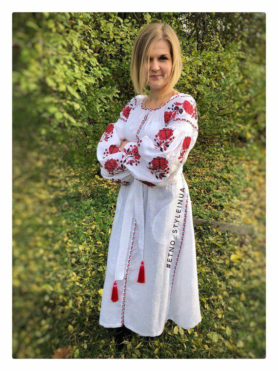 ccbf62eebf9 Long Ukrainian vyshyvanka dress with red embroidery in white 100% eco linen  - Ethnic boho dress tunic - mexican dress - Modern folk floral