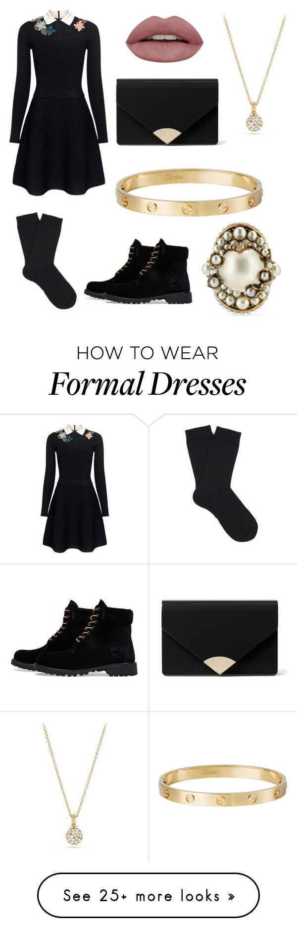 """Edens semi-formal outfit By-Eden"" by pinkj3w3l on Polyvore featuring RED Valentino, Falke, Timberland, MICHAEL Michael Kors, David Yurman, Cartier and Gucci"