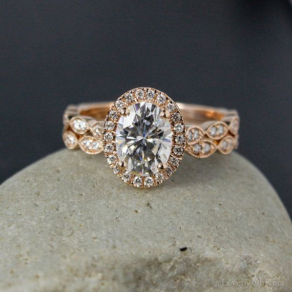 rose gold oval moissanite engagement ring diamond milgrain leaf band boho weddings - Engagement Ring And Wedding Band Set