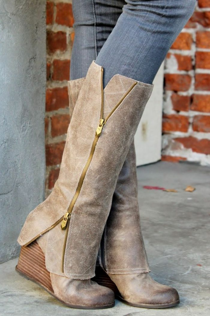 chaussures compensées, bottes originales talon compensé