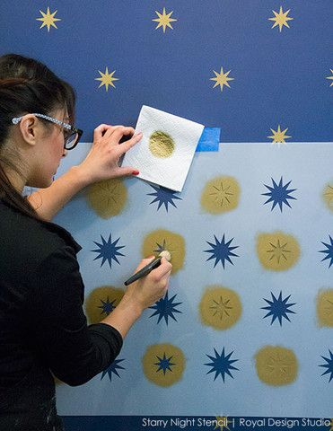 Starry Night | Holiday Backdrop | Stencil How-to: A Joyful Holiday Canvas | Royal Design Studio