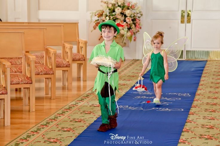Adorable Peter Pan ring bearer and Tinkerbell flower girl