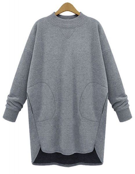 Stylish Round Neck Long Sleeve Solid Color Asymmetrical Sweatshirt For Women