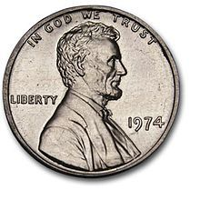 This 1974 aluminum cent looks like a silver penny and was a failed pattern piece for a lower-cost alternative to the copper cent. Photo in the public domain.
