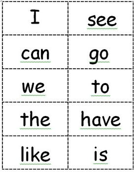 Striking image within kindergarten sight words flash cards printable