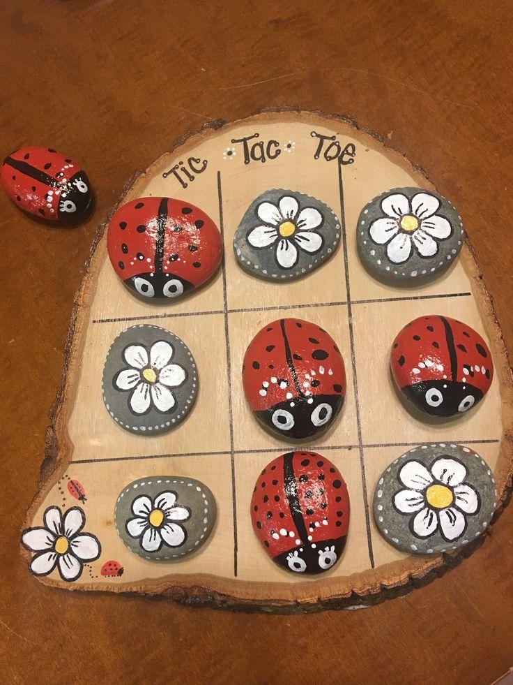 Ladybug and daisy rock tic-tac-toe. – #daisy #ladybug #Rock #tictactoe