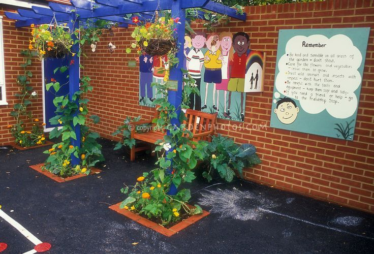 Make it cute.  Elementary School Garden and Rules, with brick building, mural, playground, climbing vines