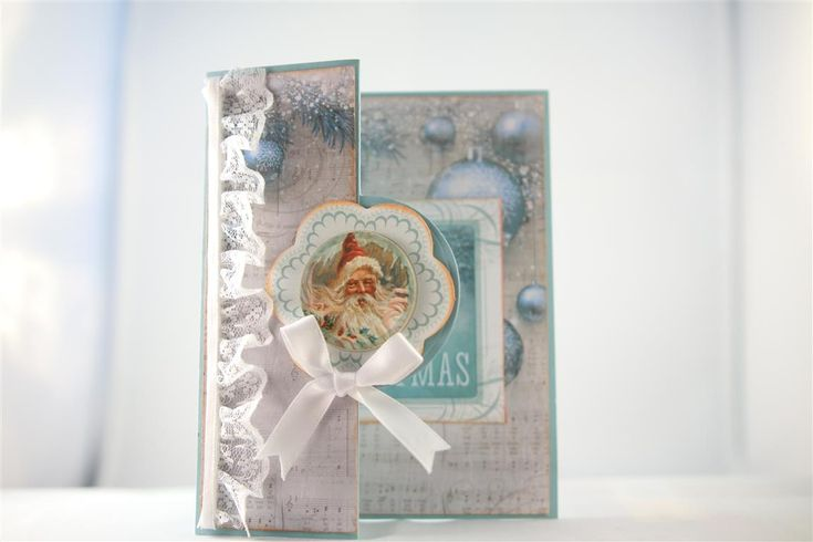 "Kaisercraft Silver Bells paper collection and collectables. Again I have folded the front of my card base ( stampin Up cardstock) back on itself, and decorated with some of the paper from the 6"" pa..."