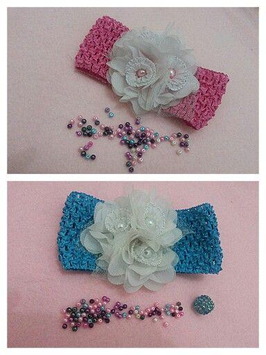 Baby headband blue n pink