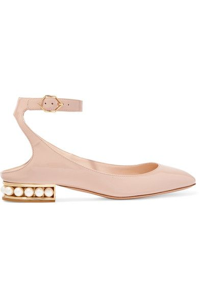 Nicholas Kirkwood - Lola Embellished Patent-leather Ballet Flats - Blush - IT40.5
