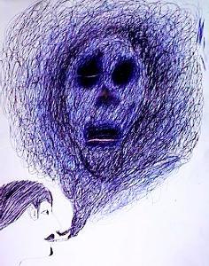 Der Raucher Kritzelzeichnung mit Kugelschreiber   Gymnasium 7. Klasse Die Zeichnung soll aus einer einzigen Linie entstehen, konkrete Formen und Umrisse sind zu vermeiden.