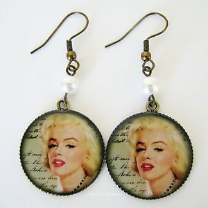 Marilyn Monroe Screen Goddess Picture Earrings Gold Plate with Glass Pearls - Missie77art Jewellery on ebay