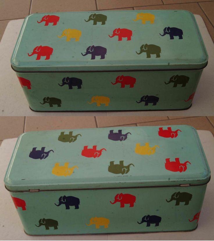 SCATOLA IN LATTA : Con elefanti raffigurati e usata come porta oggetti---   eBay