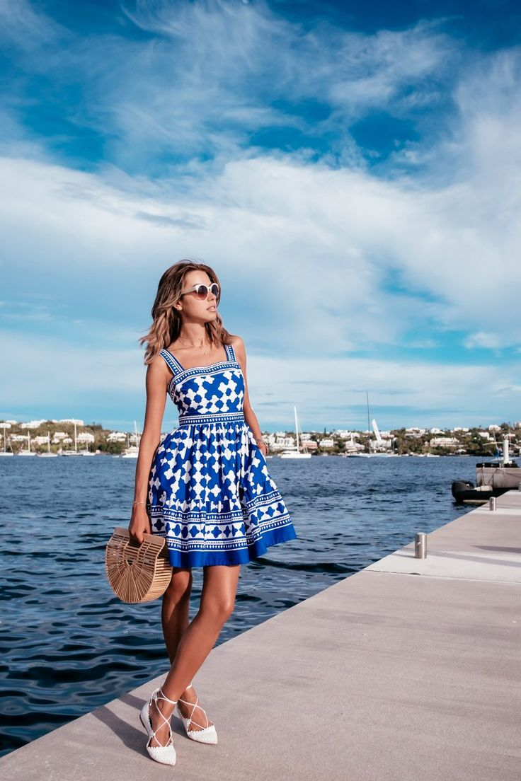 Cobalt blue and white print Kate Spade dress