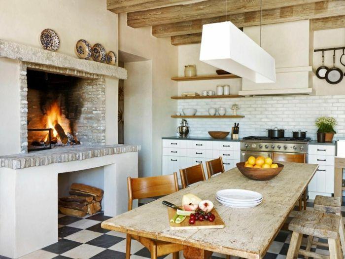 Cocinas modernas peque as cocina rustica con chimenea de - Chimenea de mesa ...