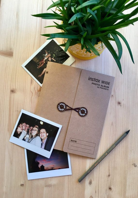 Instax Wide album - perfect for storing all you Instax Wide or Polaroid photos! - Holds 32 photos. - Album Size: 20.5 cm x 17 cm - Picture size: 8.6 cm x 10.8 cm - It can also fit Polaroid 600 sized photos. - Available in light brown and dark brown colors.    Buy 60 or more sheets of Instax Wide film and get this Instax Wide album for FREE - http://etsy.me/2i684zX   _____  Temporary Light brown album colour option is out of stock.