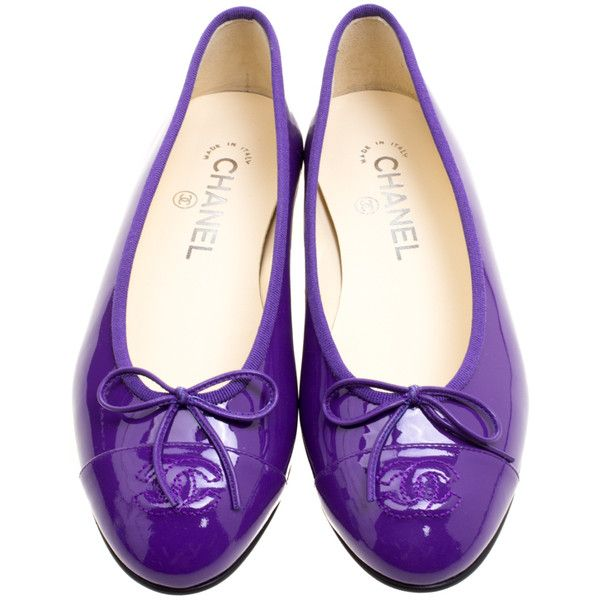 Chanel Purple Patent Leather CC Cap Toe Ballet Flats Size 37 ❤ liked on Polyvore featuring shoes, flats, toe cap shoes, ballerina pumps, ballet shoes, ballerina shoes and skimmer flats