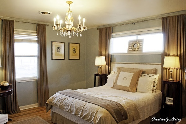 Curtains for short window above the bed go to www for Bedroom ideas with two windows