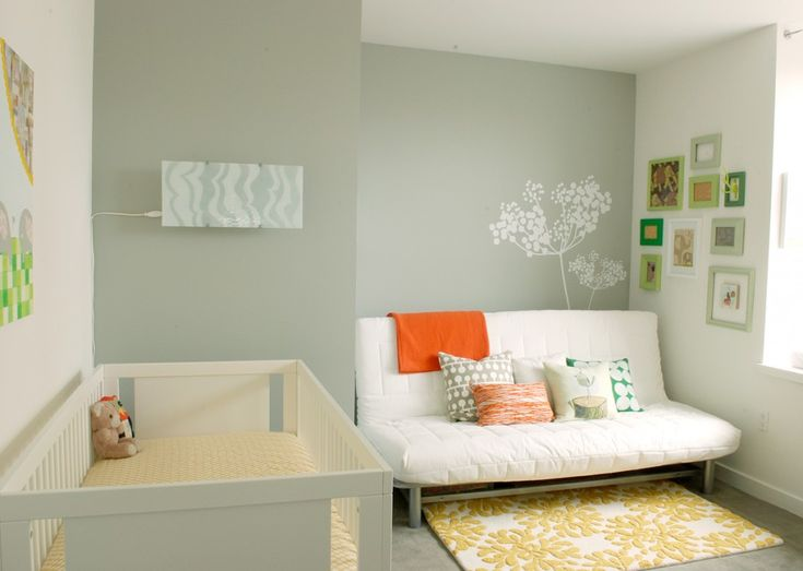 It looks great on its own, too! You don't need to paint your entire nursery in gray to enjoy the trendy color. Gray is such a beautiful color that you can paint one wall in a fabulous shade and still make a big impact. The crisp white furniture and bright yellow accessories in this baby room soften the space and add lots of contrast. Source: Chic & Cheap Nursery