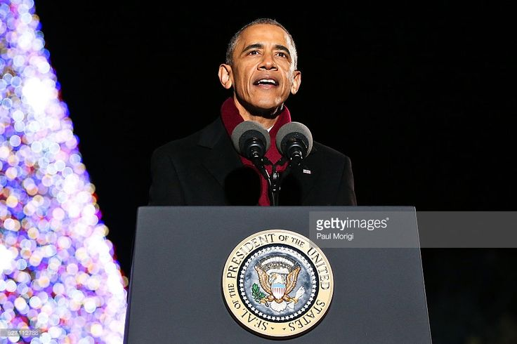 Obama Lighting Christmas Tree