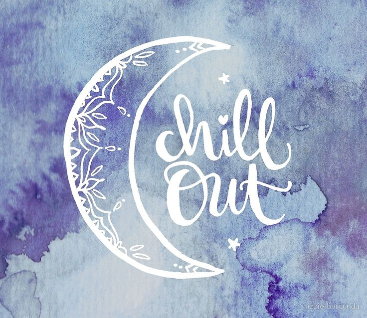 Watercolor Moon Chill Out von lizzie-burgundy