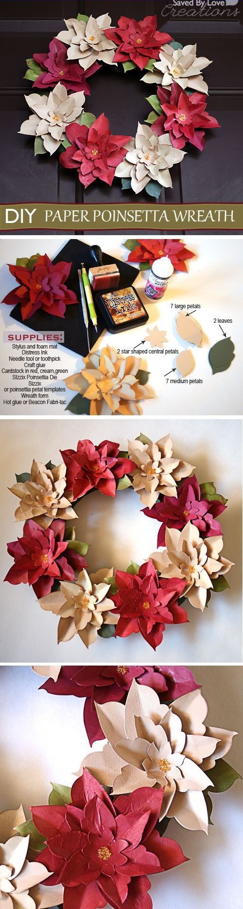 Do it yourself paper christmas decorations - Diy Poinsetta Wreath Christmas Diy Ideas Craft Flowers Paper Crafts Origami Wreaths Christmas Crafts Christmas Decorations