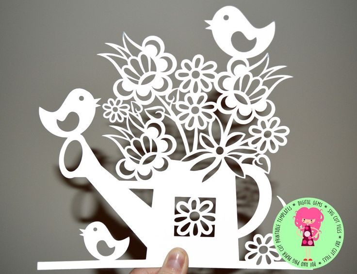 Flowers In A Watering Can And Bird Papercut Template. SVG / DXF file for Cricut / Silhouette & PDF Printable For Hand Cutting. by DigitalGems on Etsy