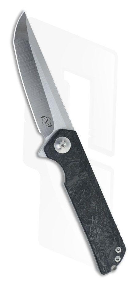 Liong Mah Design Warrior 2 Marble Carbon Fiber Flipper EDC Knife Blade