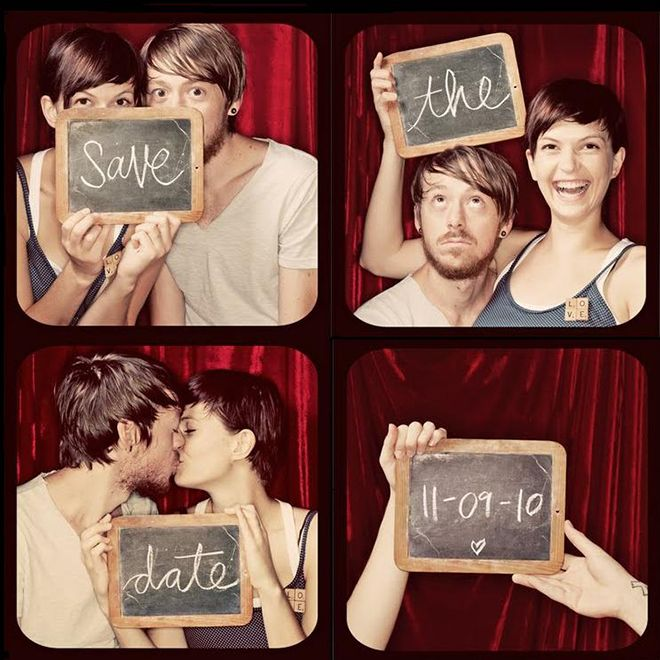 Photobooth-style save the date via blog.eventup.com | Visit wedding-venues.co.uk