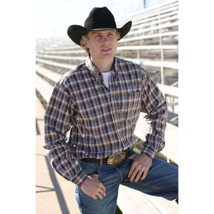 Cinch Mens Plaid Brown Shirts