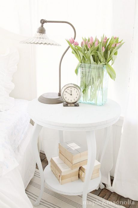Clean and fresh bedside table for a guest bedroom!