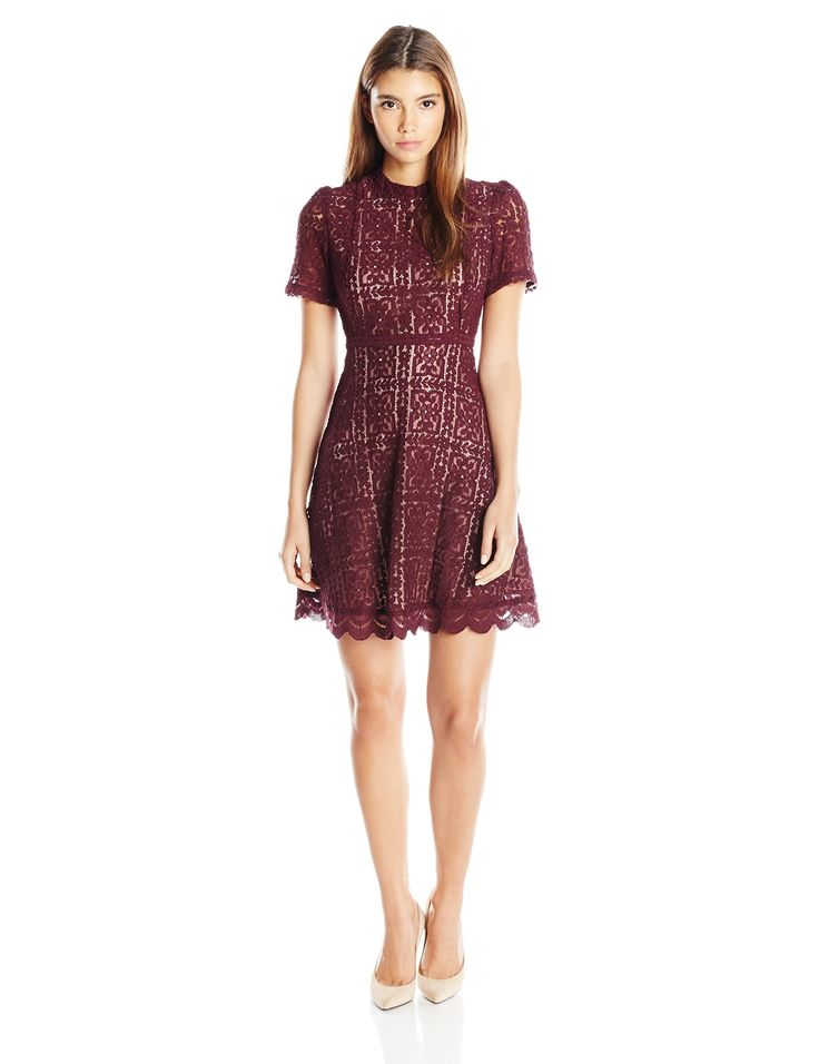 BB Dakota Women's Petite Adelina Lace Fit N Flare Dress, 8, Boysenberry, 8