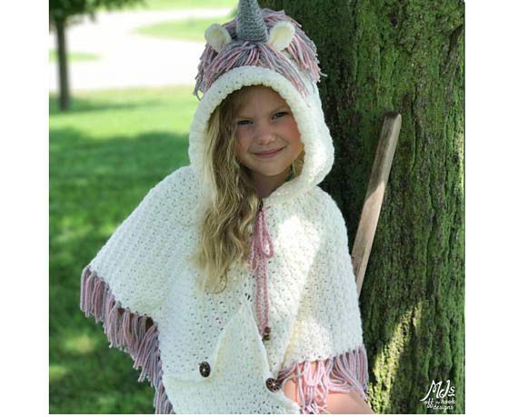 Crochet Pattern for Unicorn Poncho and Crochet Socks – Unicorn Crochet Pattern – Hooded Unicorn Poncho and Socks PATTERN by MJs Off The Hook