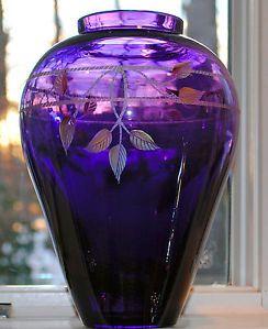 Fenton Purple Glass Vase | LARGE Fenton Signed Purple Amethyst Glass Vase Leaves