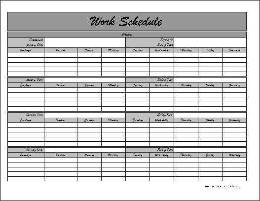 Employee Monthly Schedule Template  NinjaTurtletechrepairsCo