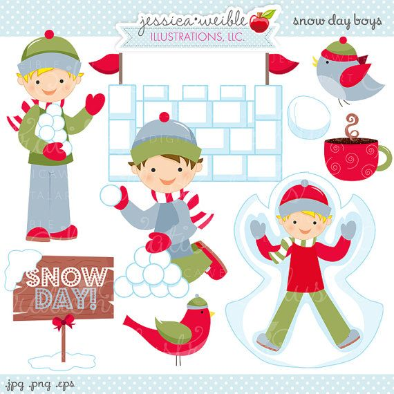 Snow Day Boys Cute Digital Clipart Commercial от JWIllustrations