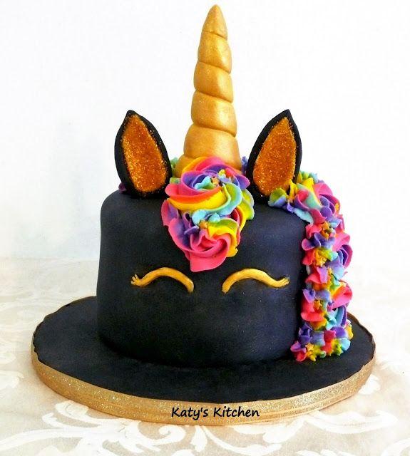 Black Unicorn Cake with Rainbow Mane