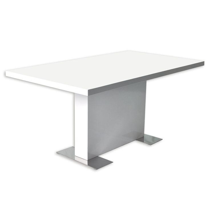 Esstisch CANDELA - weiß hochglanz - 160x75x90 cm