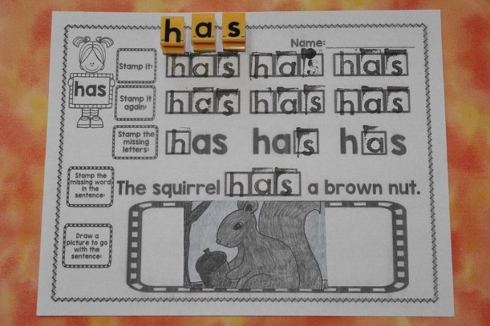 Stamping sight words! Perfect for sight word centers!