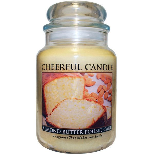 A Cheerful Giver Almond Butter Pound Cake 24-Oz. Jar Candle (395 UAH) ❤ liked on Polyvore featuring home, home decor, candles & candleholders, almond candle, round candles, ivory candles, almond scented candles and fragrance candles