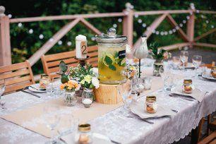 Свадебный стол лимонад, Трогательная рустикальная свадьба Насти и Паши
