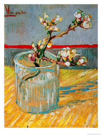 blossoming almond branch in a glass c1888 vincent van gogh...