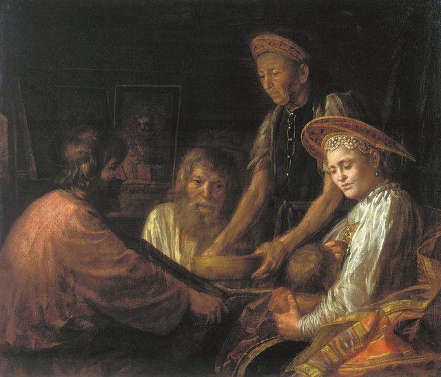 Крестьянский обед. 1774. Шибанов М. M.Shibanov. Peasant supper. 1774