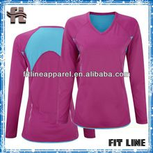 long sleeves womens v neck t-shirt with back mesh panel/ slim fit tennis t-shirt/ dri fit womens sports t-shirt fitness wear Best Seller follow this link http://shopingayo.space