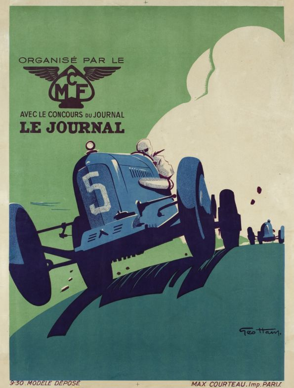 """Grand Prix automobile organisé par le MCF et Le Journal. 1930. French Grand Prix poster sponsored by """"Le journal"""". Geo Ham was one of the best racing car posters designers. source www.galerie.123.com"""