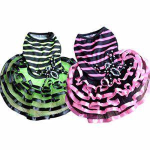 Vetement Chien Kolylong Mode Chiens Pet Puppy Tutu Dress Princesse Striped AraignéE Dentelle Skirt VêTements Apparel (M-Bust: 33cm, Rose)