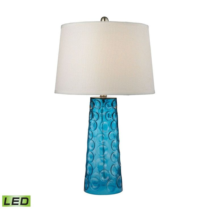 Dimond Lighting D2619-LED Hammered Glass LED Table Lamp in Blue With Pure White Linen Shade Blue – Table Lamps – Residential Lighting - GreyDock.com