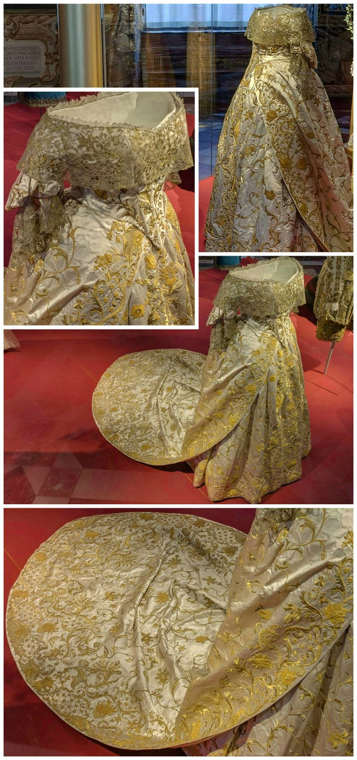 """Coronation dress worn by Queen Caroline Amalie of Denmark, 1840. Dress in three parts, consisting of bodice, skirt and train, all made of white silk satin with heavy gold embroidery. From the exhibition """"1814 - Spillet om Danmark og Norge,"""" held at the National History Museum, Frederiksborg Castle (see: http://360-foto.dk/1814/)."""
