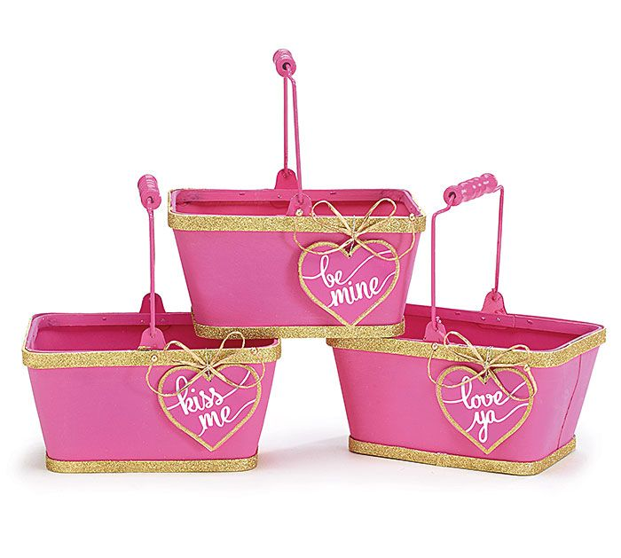 Pink wooden baskets with gold glitter trim on the top and bottom, accented with pink heart with assorted messages! #burtonandburton